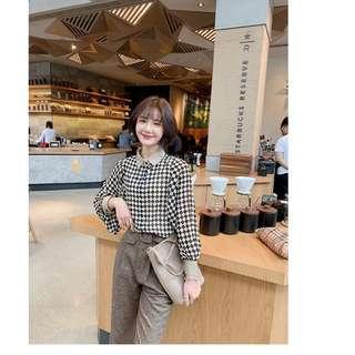 🚚 韓版春季新款時尚上班女郎格紋燈籠袖雪紡襯衫上衣
