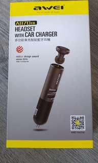 Wirelesss headset with car charger
