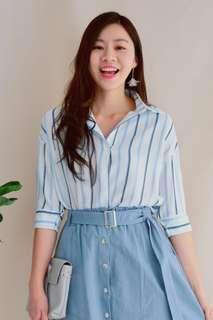 CLOSETmino Blue Stripe Top #DEC30