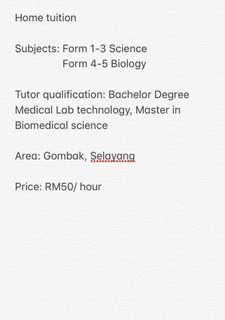 Home tutor/ private tutor