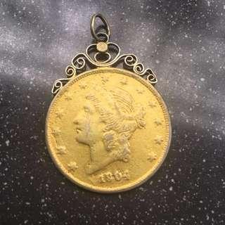 Antique jewellery gilt gold coin pendant