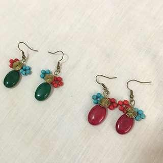 Jade earrings with beads