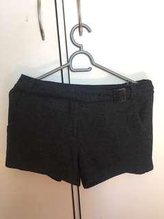 Black tweed high waisted shorts with belt detail