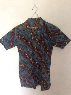 Batik Top / Atasan batik biru cokelat lengan pendek