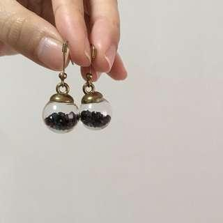 Circular glass with beads earrings