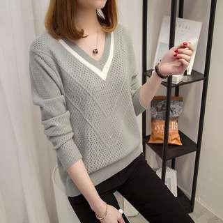 🚚 小清新針織V領毛衣 灰色L號