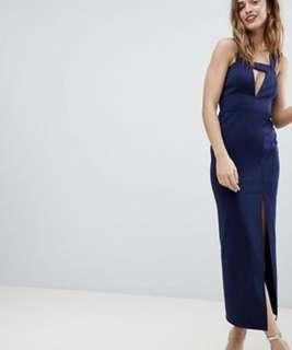 UK14 ASOS DESIGN Deep blue bodycon maxi dress with thigh split and cut out (BNWT)