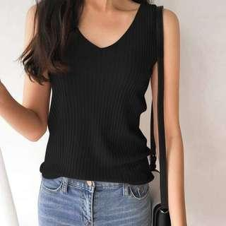 [NEW] BLACK RIBBED KNITTED KNIT TOP