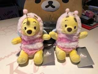 全新 小熊維尼 可愛 粉紅小蜜蜂裝扮 小型 絨毛玩偶 小娃娃 配飾