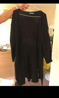 黑色長版針織外套