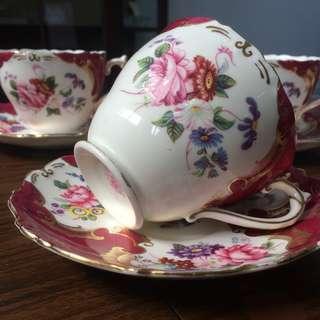 """Coalport """"Rosemary"""" Tea Cups   5 Duo Set"""