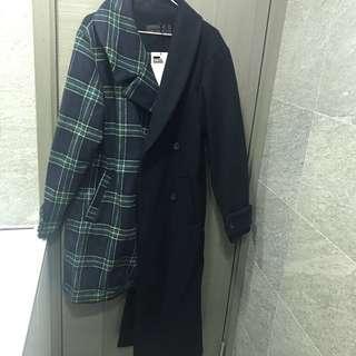 韓牌Stylenanda 藍綠色格仔不對稱外套