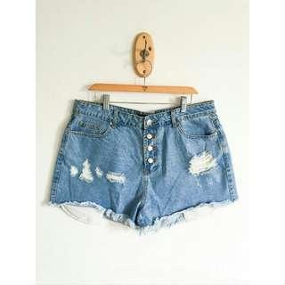 Forever 21 Plus Size Denim Tattered Shorts / f21 plus
