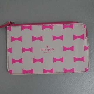 Kate Spade Pouch MAKEUP CASE BEAUTY TRAVEL PEN PENSIL ZIPPER Cosmetic Bag 皮質高級 化粧袋 筆袋 隨身袋 化妝袋