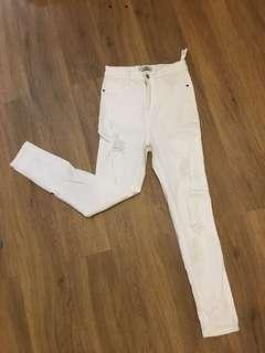Pull and Bear High Waist White Skinny Jeans