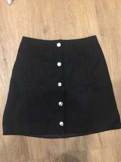 The Editors Market Suede Black Button Skirt