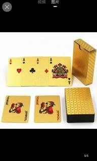 Gold poker cards playing cards