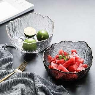 🚚 (BNIB) Gold Rim Glass Bowl Salad Bowl