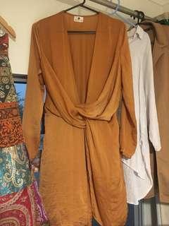 Low cut long sleeve satin copper dress