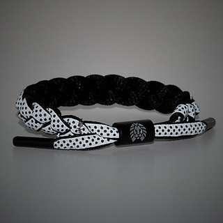 Rastaclat Avalanche Black Base Grey Reflective Black Dot Shoelace Bracelet
