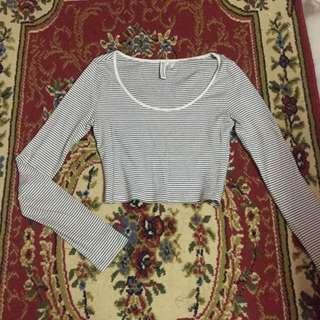 H&m striped long sleeve crop top