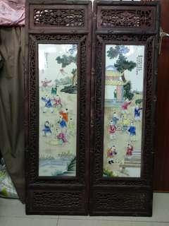 花梨木瓷板瓶風畫,小童嘻戲一套四件,高46.5寸,横14.3寸,丙子年方雪峯作