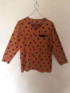 Orange Polkadot Vintage Top / Atasan Blouse Orange Polkadot Satin