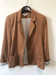 Cotton On Blazer Large 12 Brown Jacket Tan