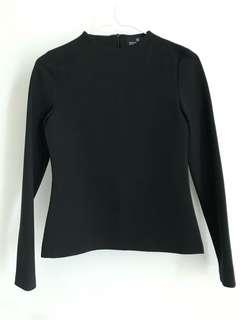Double woot long sleeve top in black