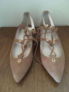 Bardot suede tan leather flats - New