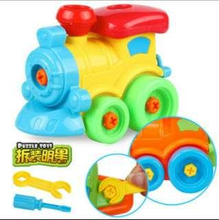 🚚 DIY螺母益智拆卸小火車 螺絲拆裝拼裝火車 拆卸玩具