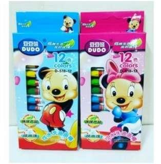🚚 【粉色】豆豆熊12色環保可水洗蠟筆 環保可水洗油畫棒