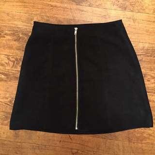 H&M Suede Zipper Skirt