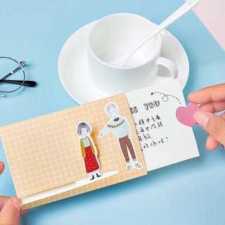 Cartoon Greeting Removable Gift Greeting Cute Card / Kartu Ucapan