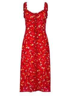 Red patterned silk dress (Realisation Par Juliet Dress dupe)