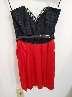 KUKU Red Black Mini Dress