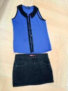 Blue sleeveless blouse and black jeans skirt