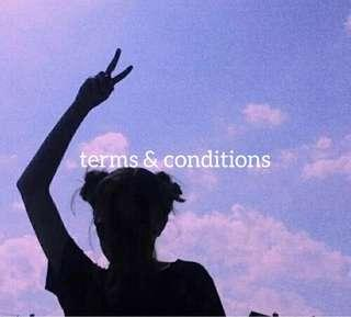 terms & conditions 💗💦
