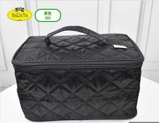 Authentic Brand new NaRaYa cosmetic bag (large) satin quilted model NBS-37A/XL No. 101 Black color (toiletries pouch travel travelling shoulder hand luggage cabin duffle sling victoria's vs winter cost short trip sweater scarf)