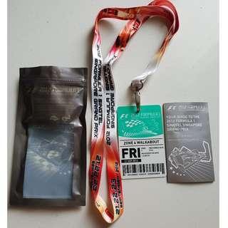 2012 F1 Singtel Singapore Grand Prix Pass