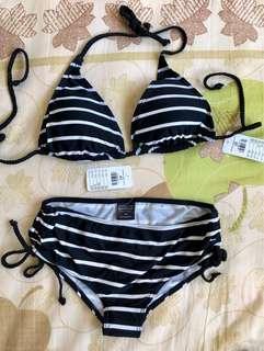 Bodyzone black strips bikini set M