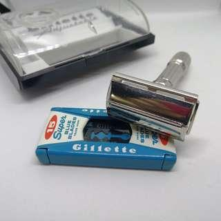 Gillette Adjustable TTO Double Edge Safety Razor fatboy 1959 E2 full set Perfect Condition