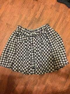 🚚 格子紋綁帶鬆緊短褲裙 #十二月女裝半價