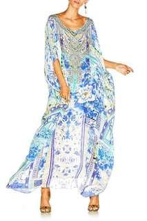 Camilla porcelain paradise round neck kaftan - size all
