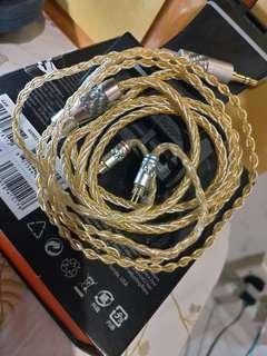 全新8絞7N單晶銅鍍金+鍍銀耳機升級線3.5 0.78 fender fen5 noble heir earsonic  inear 等0.78耳機
