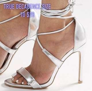 Silver Tie Up Heels