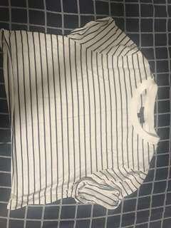 Topshop Stripe Crop Roll Back Tee
