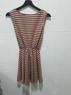 🚚 Peach black stripe dress