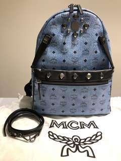 MCM Dual Stark Studded Denim Canvas Backpack (Medium) with authenticity card