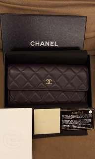 Chanel 菱格紋 小羊皮紫色長夾 《附台灣專櫃購證 ,保證真品》